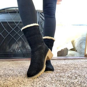 Black Suede Ankle Booties with Cotton Interior